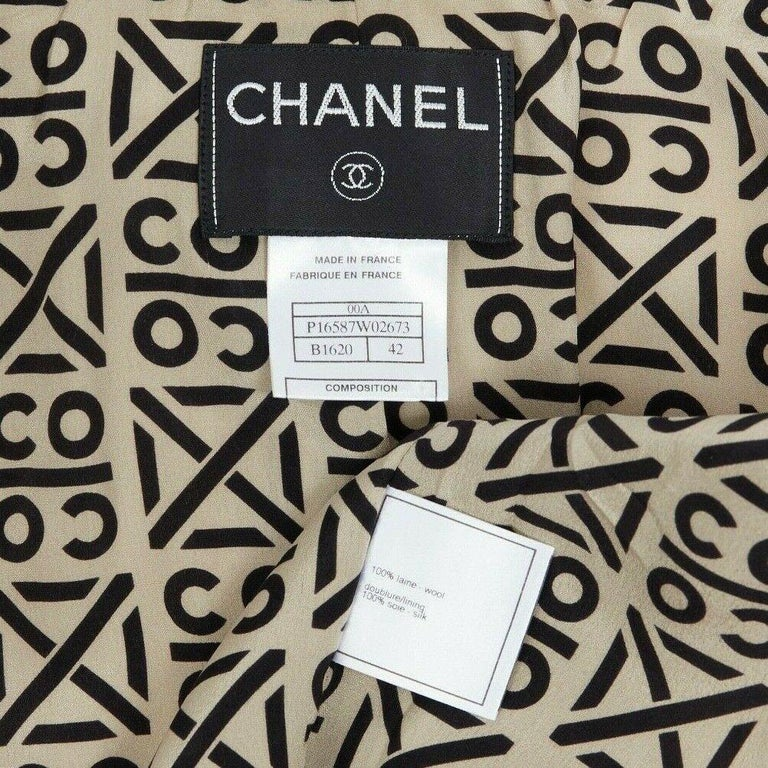 CHANEL 00A ivory waffle tweed black trim print collar zip-up jacket FR42 6