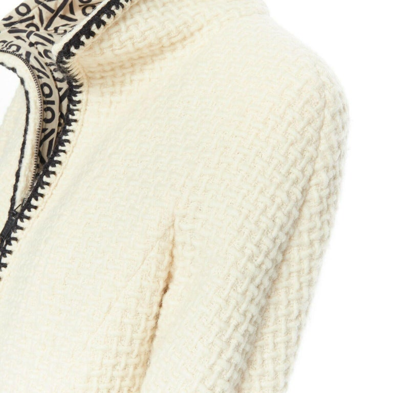 CHANEL 00A ivory waffle tweed black trim print collar zip-up jacket FR42 4