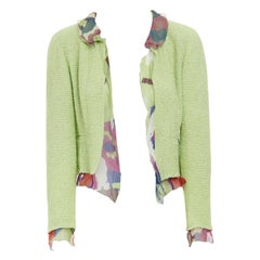CHANEL 00T lime green wool tweed printed floral silk trimmed cropped jacket FR40