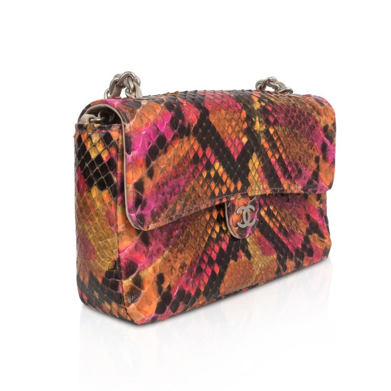 0b082aba15ad Chanel 00T Runway Mini Flap Multi Coloured Snakeskin Bag Clutch Cross Body  In Excellent Condition For