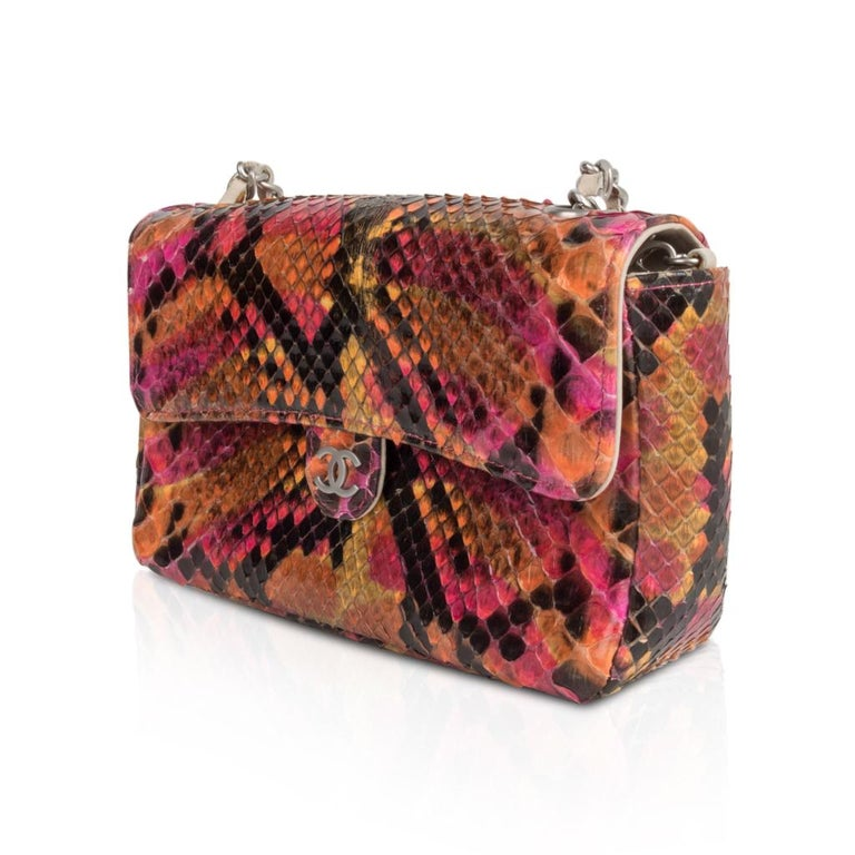 Chanel 00t Runway Mini Flap Multi Coloured Snakeskin Bag