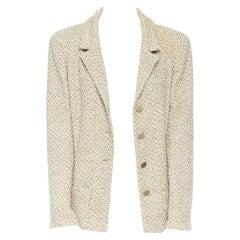 CHANEL 01P beige knit tweed shoulder pad classic straight blazer jacket FR44