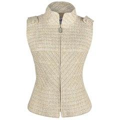 Chanel 01P  Vest / Top Nude Fantasy Tweed Silver Metallic Accent 42