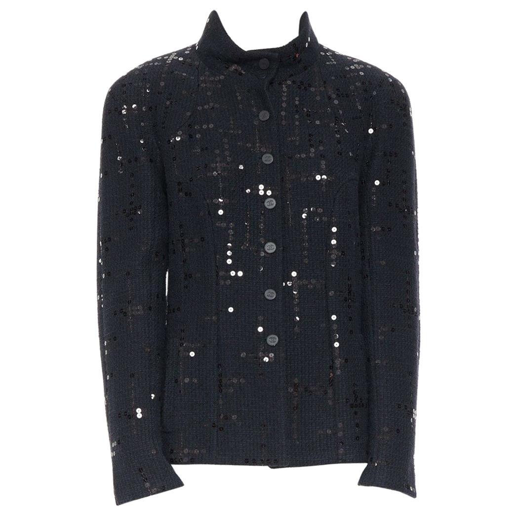 CHANEL 02A LBJ black sequinned. tweed high-neck tonal CC button jacket FR42