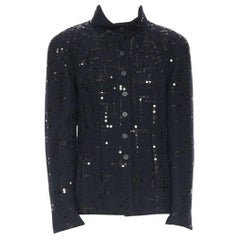 CHANEL 02A LBJ black sequinned. tweed high-neck tonal CC button jacket FR42