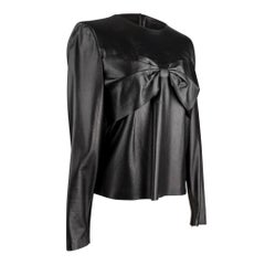 Chanel 02P Top Black Lambskin Front Bow Metallic Wash 40 / 6 NW