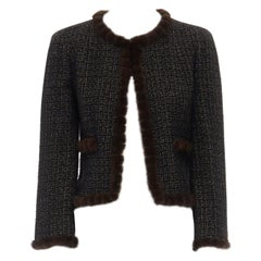 CHANEL 03A black gold thread wool tweed brown mink fur trimmed jacket FR38 M
