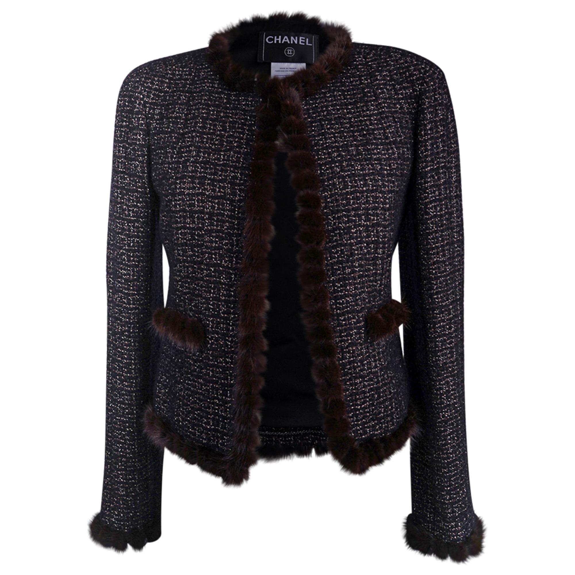 Chanel 03A Jacket Black Tweed Mink Trim Metallic Thread 40 / 6