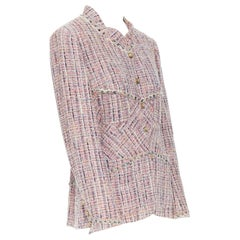 CHANEL 03A lavender multi-pastel tweed 4 pocket bias-cut mandarin jacket FR44
