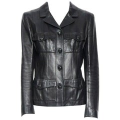 CHANEL 03A LBJ black 4 flap pocket panel constructed leather jacket FR40