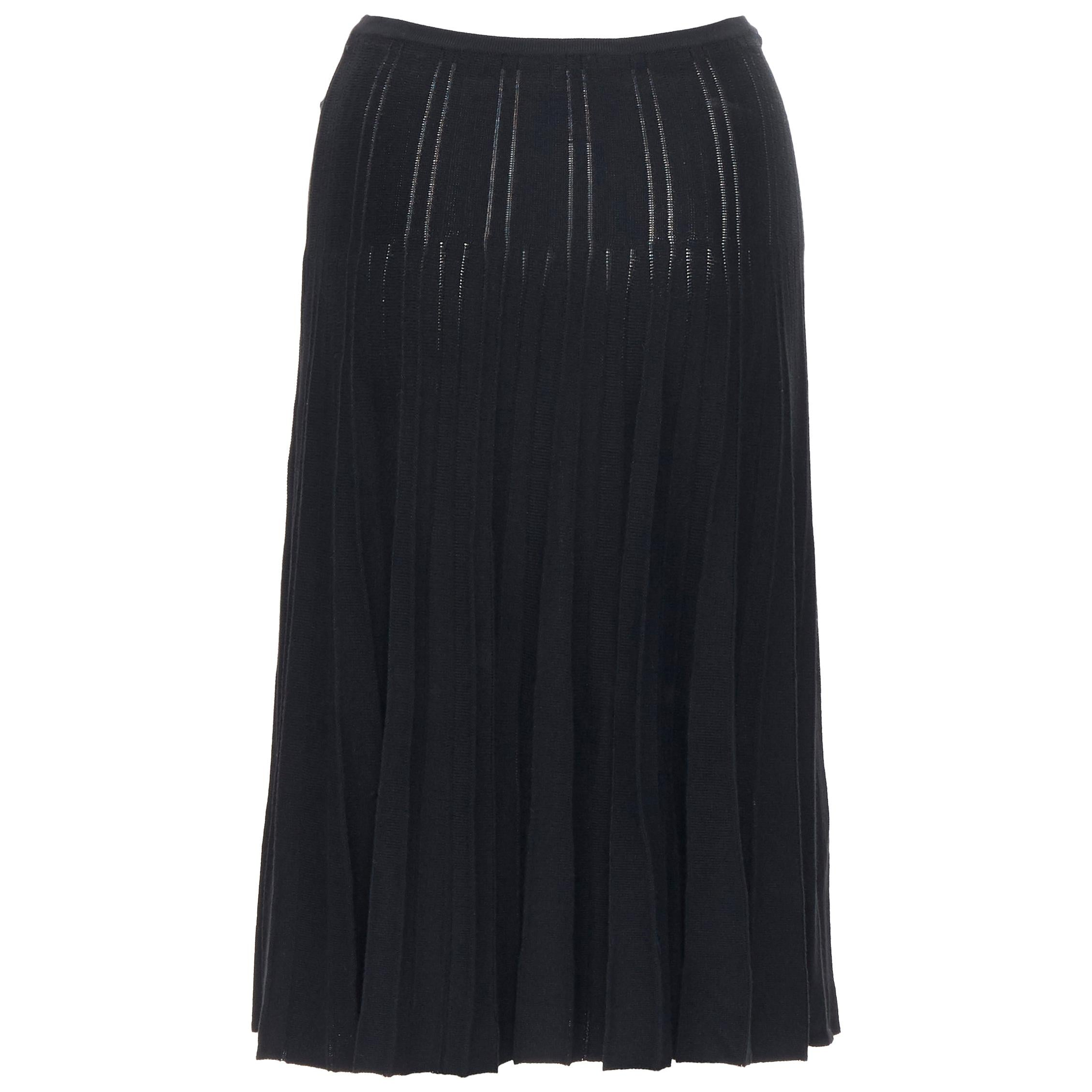 """CHANEL 04A black CC logo rayon knitted ribbed pleated flared midi skirt FR36 24"""""""