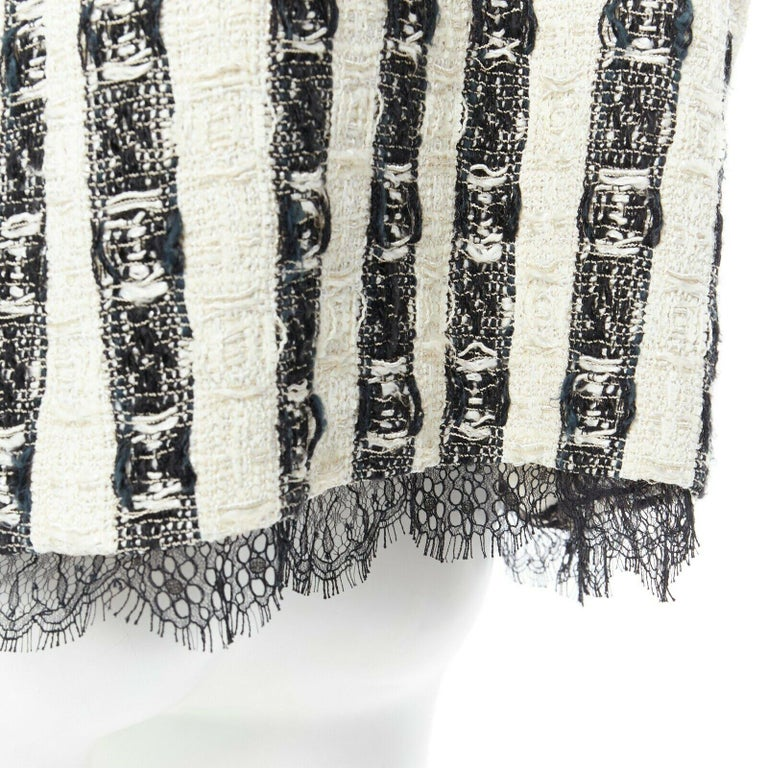 CHANEL 04A black white stripe lesage tweed scallop lace lined jacket FR48 5