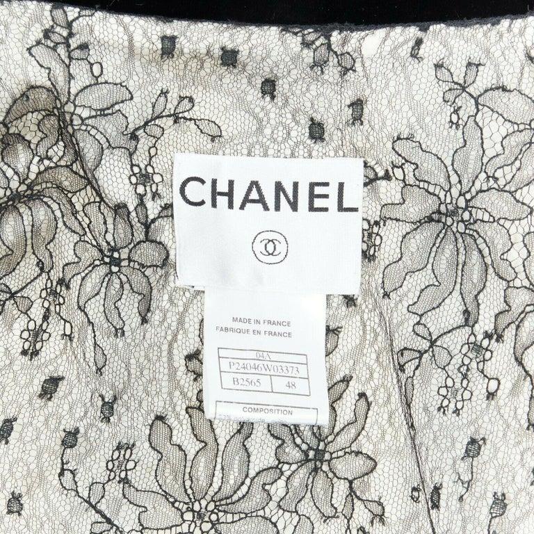 CHANEL 04A black white stripe lesage tweed scallop lace lined jacket FR48 6