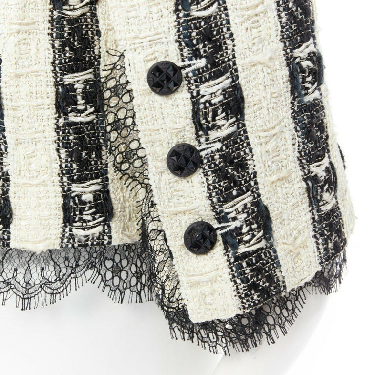 Gray CHANEL 04A black white stripe lesage tweed scallop lace lined jacket FR48