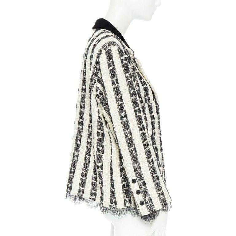 Women's CHANEL 04A black white stripe lesage tweed scallop lace lined jacket FR48