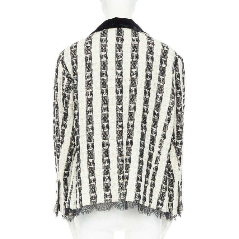 CHANEL 04A black white stripe lesage tweed scallop lace lined jacket FR48 1