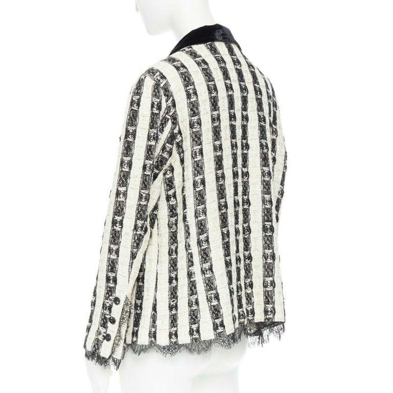 CHANEL 04A black white stripe lesage tweed scallop lace lined jacket FR48 2