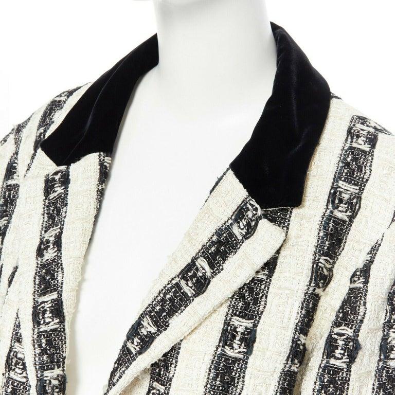CHANEL 04A black white stripe lesage tweed scallop lace lined jacket FR48 3