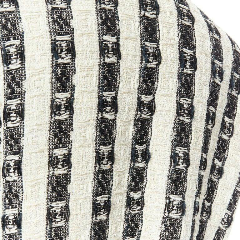 CHANEL 04A black white stripe lesage tweed scallop lace lined jacket FR48 4