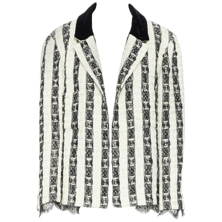 CHANEL 04A black white stripe lesage tweed scallop lace lined jacket FR48