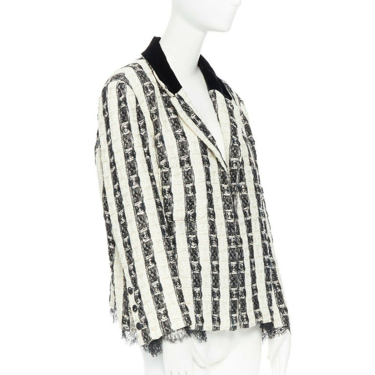 CHANEL 04A black white stripe lesage tweed scallop lace lined jacket FR48 Brand: CHANEL Designer: Karl Lagerfeld Collection: 04A Model Name / Style: Tweed Jacket Material: Cotton, rayon, nylon, wool Color: Black and white Pattern: Striped Closure: