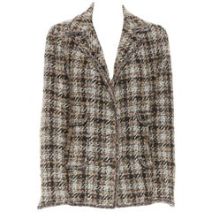 CHANEL 05A brown khaki check boucle tweed 4 pocket prince of wales jacket FR42