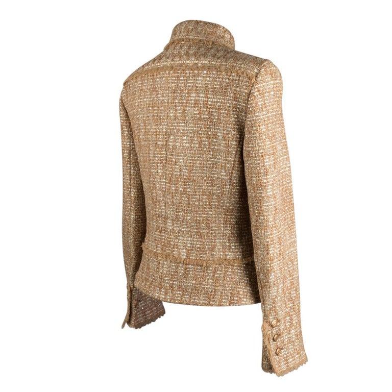 Chanel 05P Jacke Metallisch Gold Silber Tweed einzelne Brust 40 / 8  10