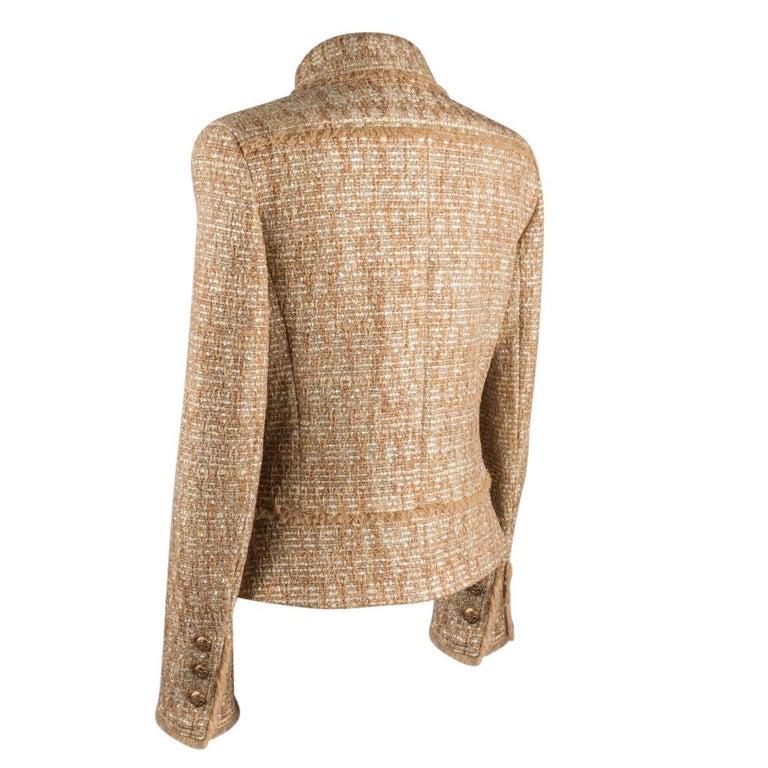 Chanel 05P Jacke Metallisch Gold Silber Tweed einzelne Brust 40 / 8  11