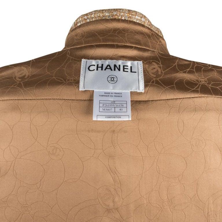 Chanel 05P Jacke Metallisch Gold Silber Tweed einzelne Brust 40 / 8  12