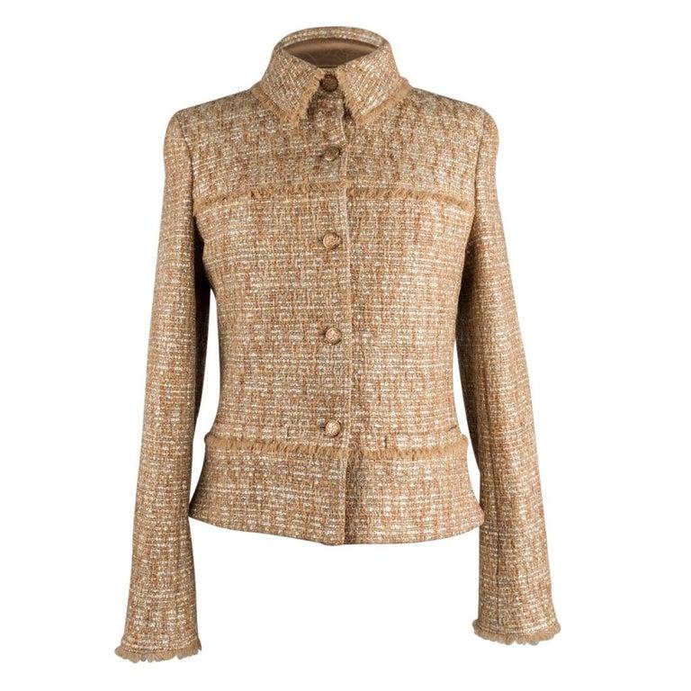 Chanel 05P Jacke Metallisch Gold Silber Tweed einzelne Brust 40 / 8  2