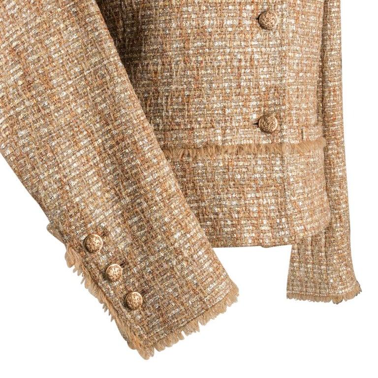 Chanel 05P Jacke Metallisch Gold Silber Tweed einzelne Brust 40 / 8  3