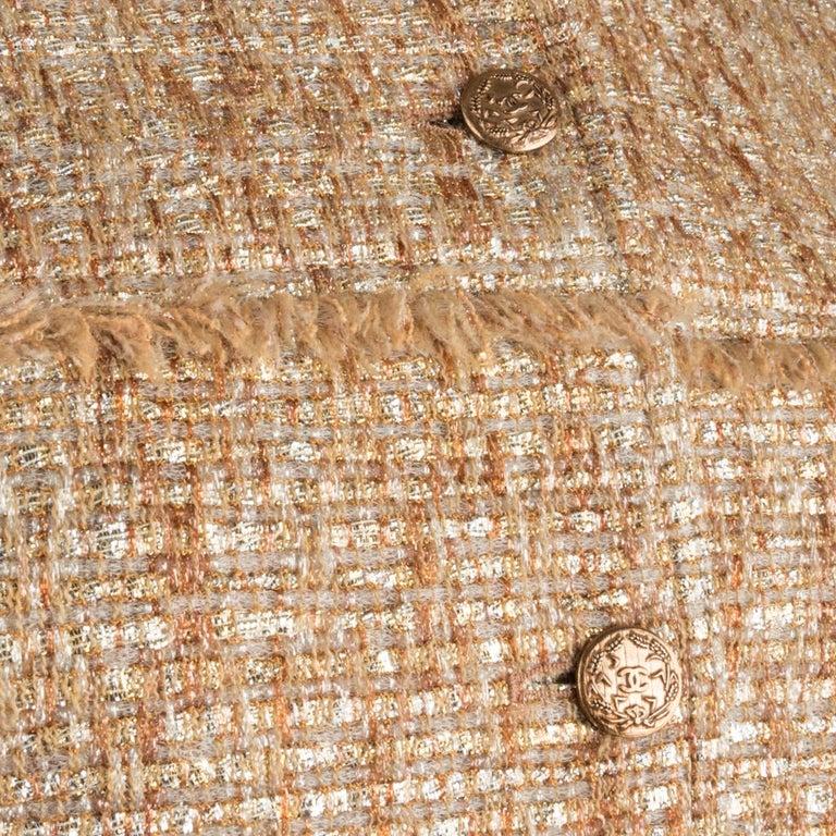 Chanel 05P Jacke Metallisch Gold Silber Tweed einzelne Brust 40 / 8  4