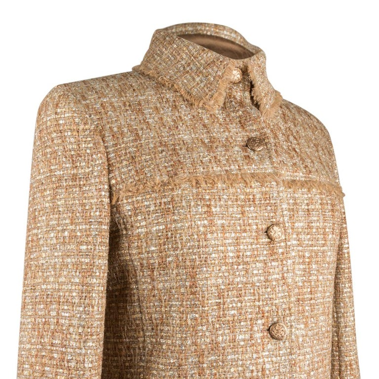 Chanel 05P Jacke Metallisch Gold Silber Tweed einzelne Brust 40 / 8  5