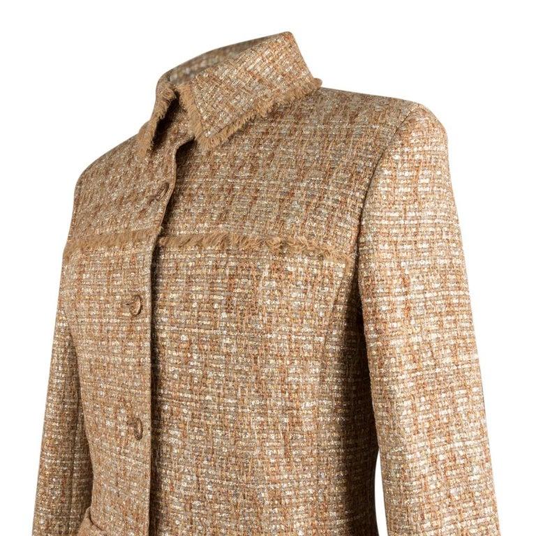 Chanel 05P Jacke Metallisch Gold Silber Tweed einzelne Brust 40 / 8  6