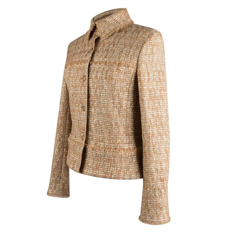 Chanel 05P Jacke Metallisch Gold Silber Tweed einzelne Brust 40 / 8  7