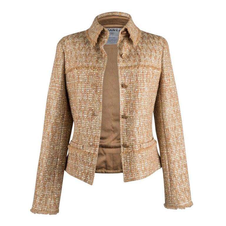 Chanel 05P Jacke Metallisch Gold Silber Tweed einzelne Brust 40 / 8  8