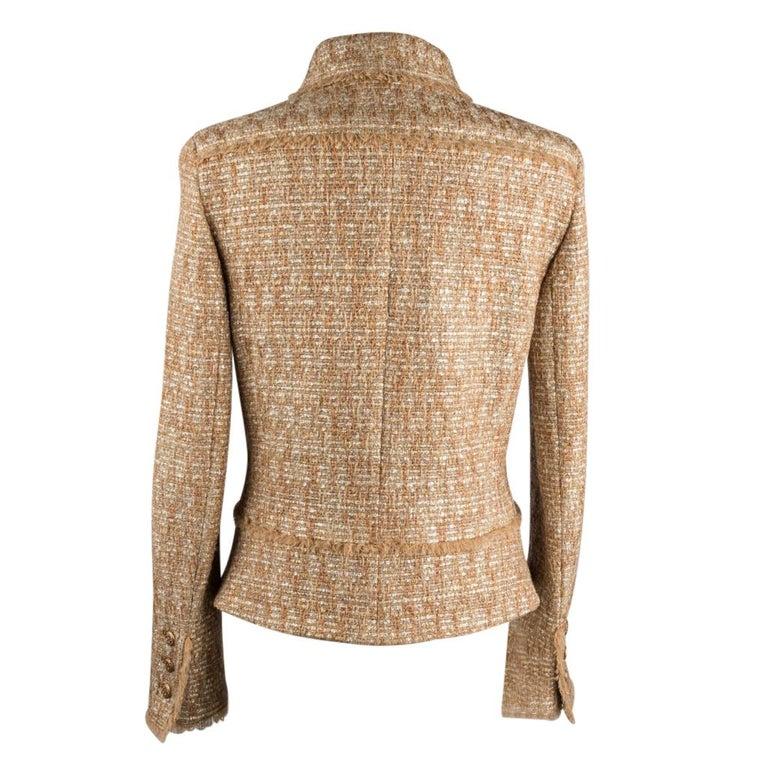 Chanel 05P Jacke Metallisch Gold Silber Tweed einzelne Brust 40 / 8  9