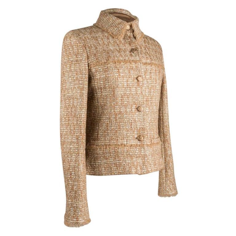 Chanel 05P Jacke Metallisch Gold Silber Tweed einzelne Brust 40 / 8  1