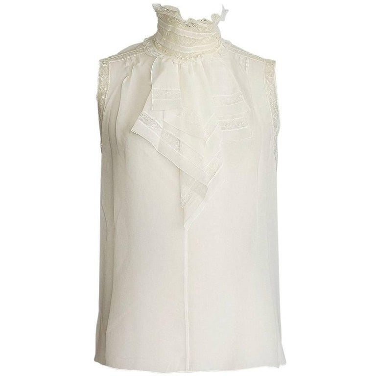 Chanel 07C Top Exquisite Silk Blouse Lace Insets 42 / 8