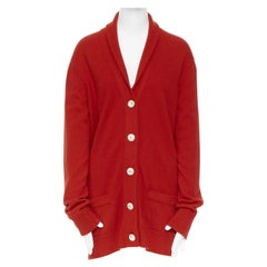 CHANEL 08A red cashmere knit rib shawl collar crystal button cardigan FR38