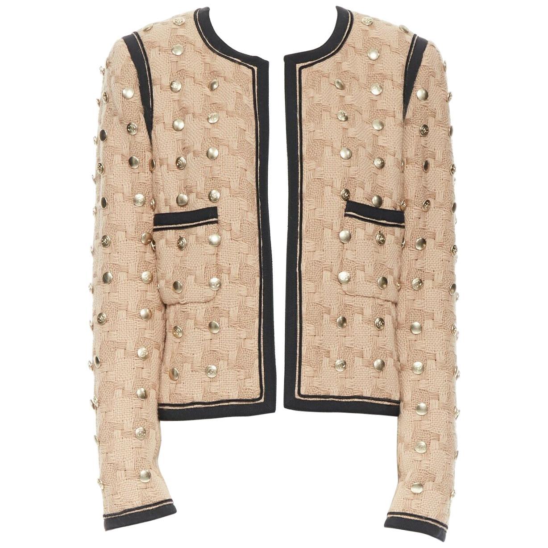 CHANEL 08A sand beige wool weave basket knit gold button embellish jacket FR44