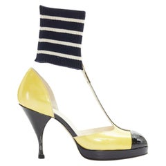 CHANEL 08C yellow black patent T-strap changeable ribbed ankle spck pump EU37
