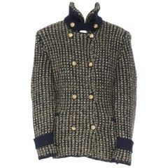 CHANEL 09A gold blue sequin cashmere double headed eagle military jacket FR40