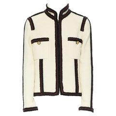 CHANEL 09A Paris-Moscou ecru wool tweed fuzzy trim officer jacket FR44