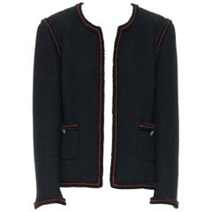 CHANEL 09A Paris-Moscou red fluffy braiding military Little Black Jacket FR46