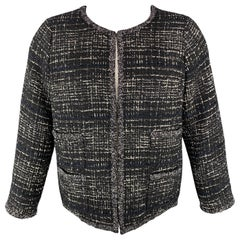 CHANEL 09A Size 18 Black & White Fantasy Tweed Blazer / Jacket