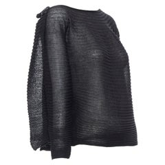 CHANEL 09P black lurex ribbed knit crystal CC brooch dual attached sweater Fr34