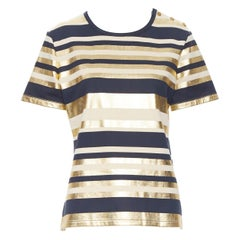 CHANEL 100% cotton metallic gold navy striped gold button short sleeve top FR40