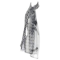 CHANEL 100% silk black white logo monogram scarf