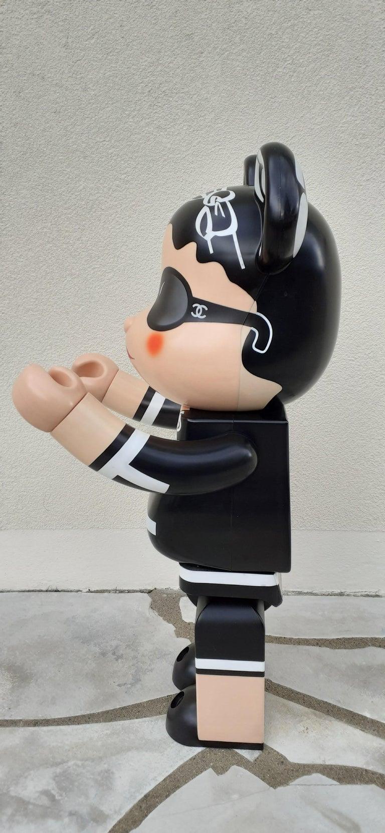 Black Chanel 1000% Bearbrick Medicom Limited Edition Rare Collector For Sale